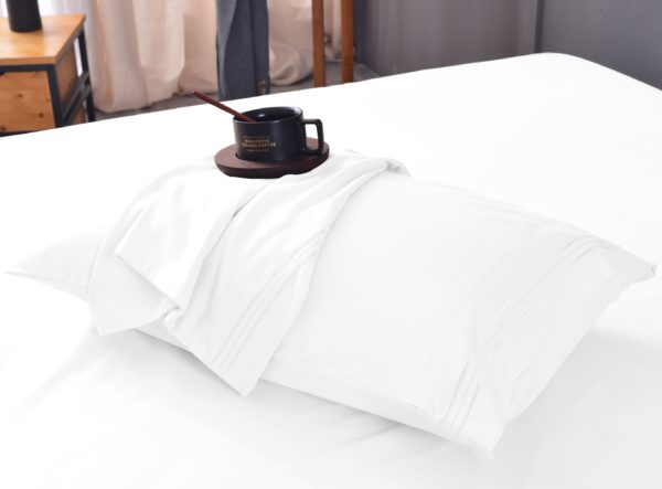 White Cool Bamboo Bed Sheet Set