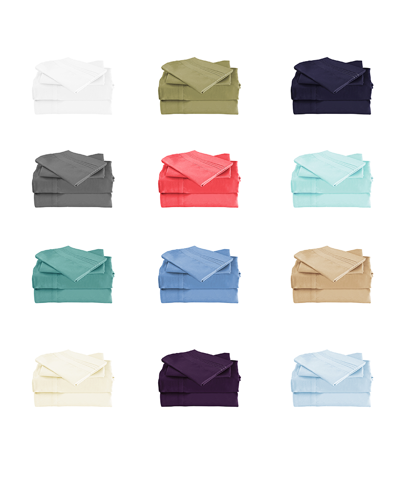 All Colors Cool Bamboo Bed Sheet Set Description Photo white, sage green, navy blue, grey, coral, light blue, teal, blue, beige, ivory, purple, aqua colors
