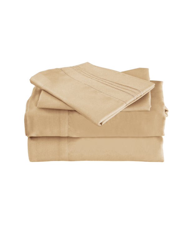 Beige Color Cool Bamboo Bed Sheet Set