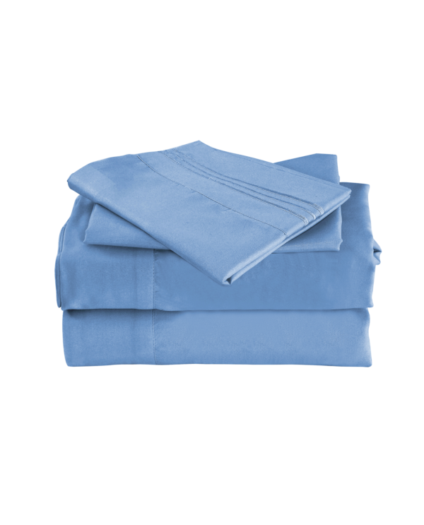 Blue Color Cool Bamboo Bed Sheet Set