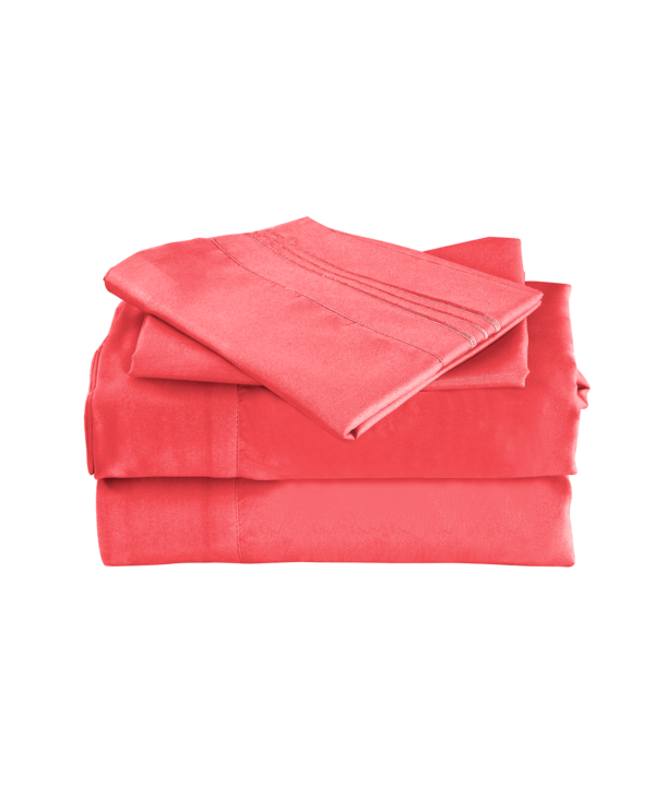Coral Color Cool Bamboo Bed Sheet Set