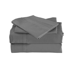 Grey Color Cool Bamboo Bed Sheet Set
