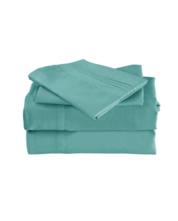 Teal Color Cool Bamboo Bed Sheet Set