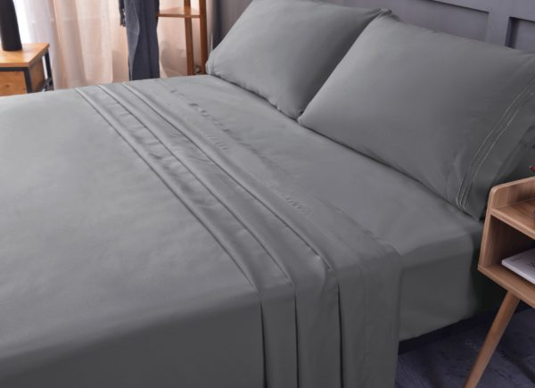 Grey Cool Bamboo Bed Sheet Set