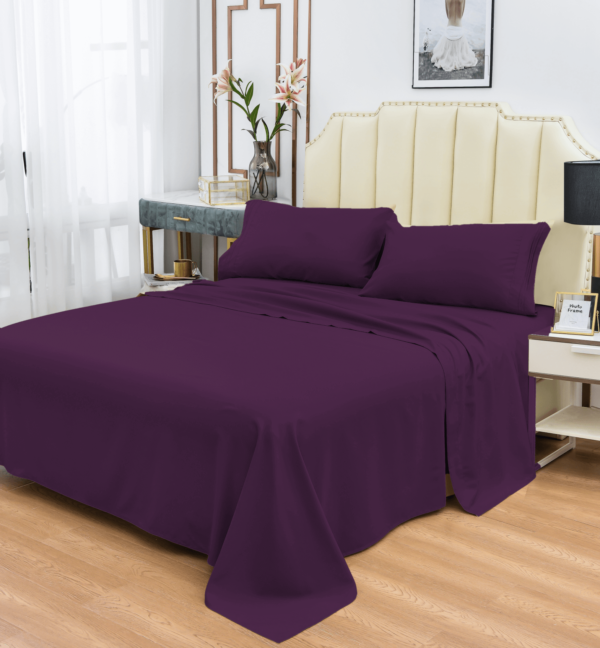 Purple 10 Cool Bamboo Bed Sheet Set